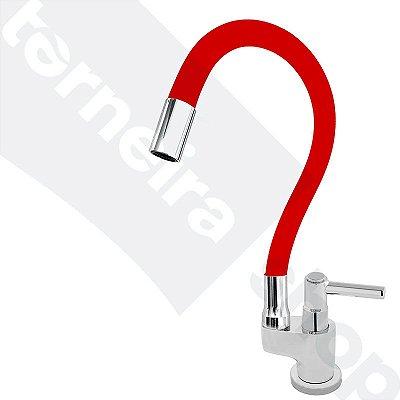 Torneira Gourmet Color Flex de Bancada Bica Móvel Lateral 1/4V Vermelho C11