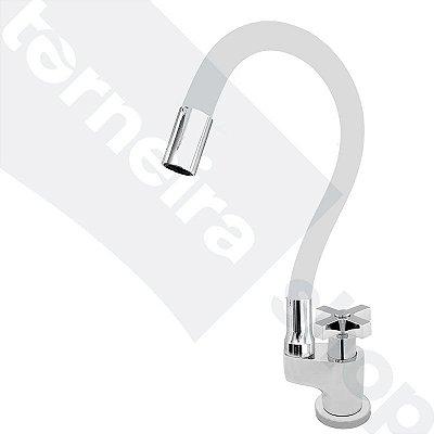 Torneira Gourmet Color Flex de Bancada Bica Móvel Lateral 1/4V Branco C44