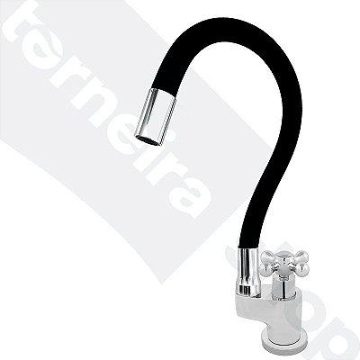 Torneira Gourmet Color Flex de Bancada Bica Móvel Lateral 1/4V Preto C52