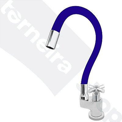 Torneira Gourmet Color Flex de Bancada Bica Móvel Lateral 1/4V Azul C64