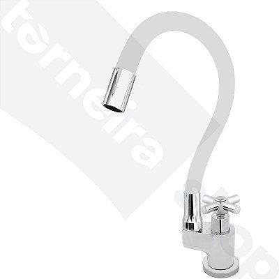 Torneira Gourmet Color Flex de Bancada Bica Móvel Lateral 1/4V Branco C64