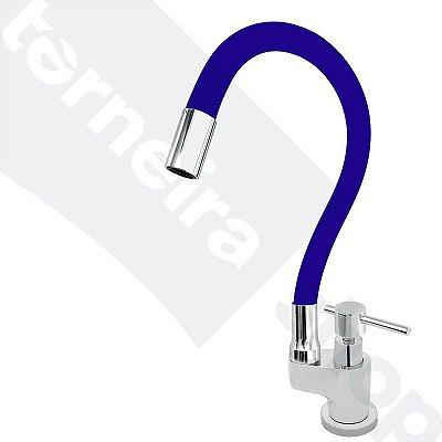 Torneira Gourmet Color Flex de Bancada Bica Móvel Lateral 1/4V Azul C66