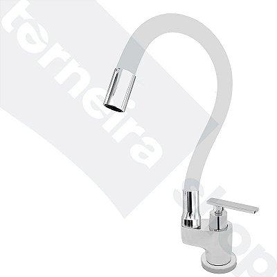 Torneira Gourmet Color Flex de Bancada Bica Móvel Lateral 1/4V Branco C79