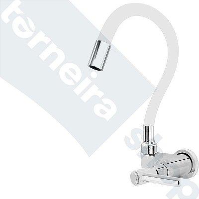 Torneira Gourmet Color Branco Flexível Parede Saída Lateral 1/4 V C11