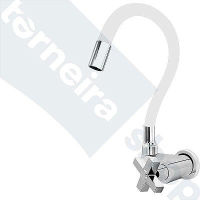 Torneira Gourmet Color Branco Flexível Parede Saída Lateral 1/4 V C44