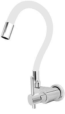 Torneira Gourmet Color Branco Flexível Parede Saída Lateral 1/4 V C66