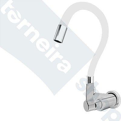 Torneira Gourmet Color Branco Flexível Parede Saída Lateral 1/4 V C77