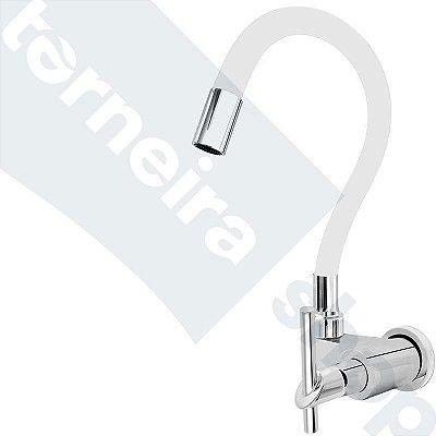 Torneira Gourmet Color Branco Flexível Parede Saída Lateral 1/4 V C67