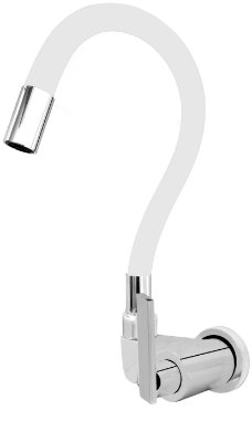 Torneira Gourmet Color Branco Flexível Parede Saída Lateral 1/4 V C79