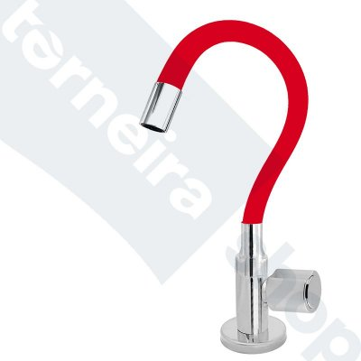 Torneira Cozinha Mesa Flexível Color Vermelho 1/4 de Volta C40
