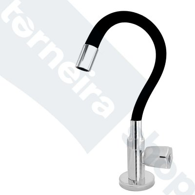 Torneira Cozinha Mesa Flexível Color Preto 1/4 de Volta C50