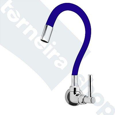 Torneira Cozinha Parede Gourmet Color Flexível 1/4 Volta Azul C11