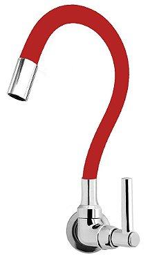 Torneira Cozinha Parede Gourmet Color Flexível 1/4 Volta Vermelho C11