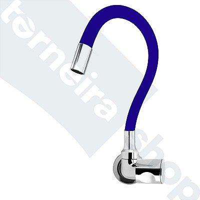 Torneira Cozinha Parede Gourmet Color Flexível 1/4 Volta Azul C35
