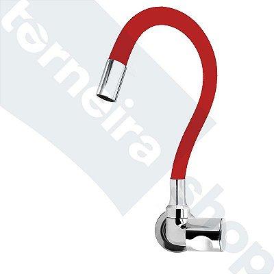 Torneira Cozinha Parede Gourmet Color Flexível 1/4 Volta Vermelho C35