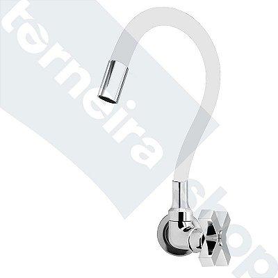 Torneira Cozinha Parede Gourmet Color Flexível 1/4 Volta Branco C44