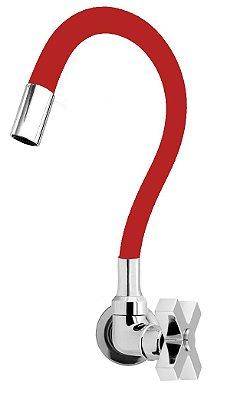 Torneira Cozinha Parede Gourmet Color Flexível 1/4 Volta Vermelho C44