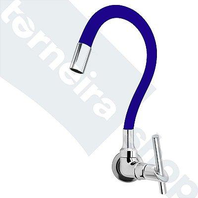 Torneira Cozinha Parede Gourmet Color Flexível 1/4 Volta Azul C67