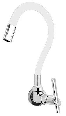 Torneira Cozinha Parede Gourmet Color Flexível 1/4 Volta Branco C67