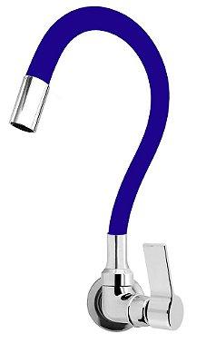 Torneira Cozinha Parede Gourmet Color Flexível 1/4 Volta Azul C77
