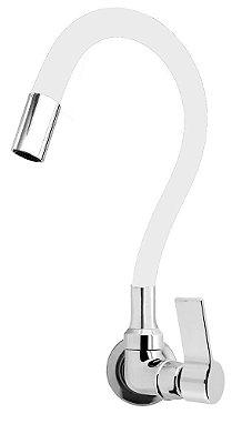 Torneira Cozinha Parede Gourmet Color Flexível 1/4 Volta Branco C77
