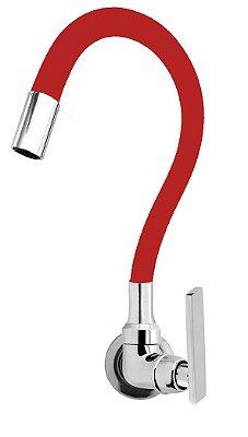 Torneira Cozinha Parede Gourmet Color Flexível 1/4 Volta Vermelho C79