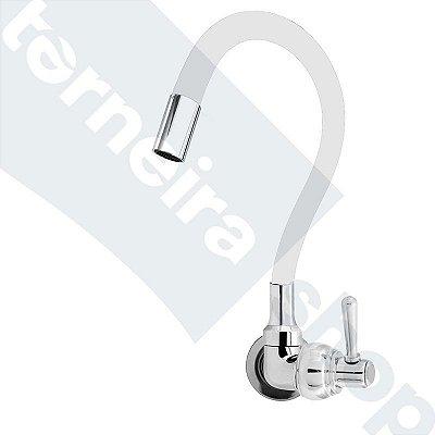 Torneira Cozinha Parede Gourmet Color Flexível 1/4 Volta Branco C80