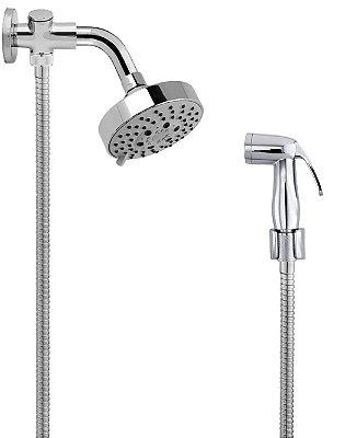 Ducha de Banho Completa C/ Desviador Chuveiro C/ 05 Opções de Jato Braço 14 cm