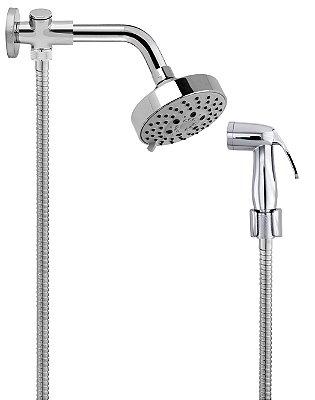 Ducha de Banho Completa C/ Desviador Chuveiro C/ 05 Opções de Jato Braço 17 cm