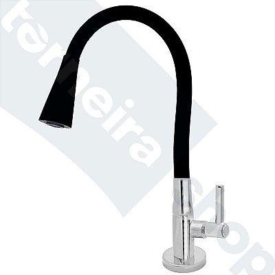 Torneira Mesa Gourmet Design Preto Jato Duplo Bica Flexível 1/4 Volta C11