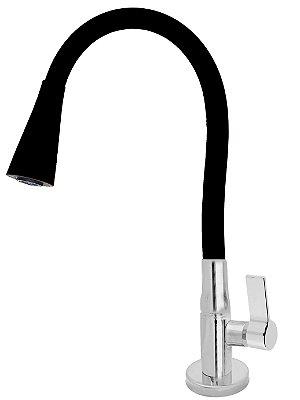 Torneira Mesa Gourmet Design Preto Jato Duplo Bica Flexível 1/4 Volta C77