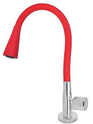 Torneira Mesa Gourmet Design Vermelho Jato Duplo Bica Flexível 1/4 Volta C40