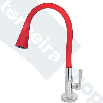 Torneira Mesa Gourmet Design Vermelho Jato Duplo Bica Flexível 1/4 Volta C79