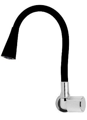 Torneira Parede Gourmet Design Preto Jato Duplo Bica Flexível C40