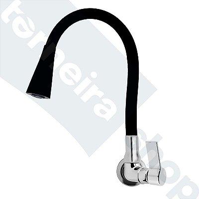 Torneira Parede Gourmet Design Preto Jato Duplo Bica Flexível C77