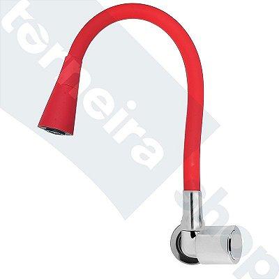 Torneira Parede Gourmet Design Vermelho Jato Duplo Bica Flexível C40