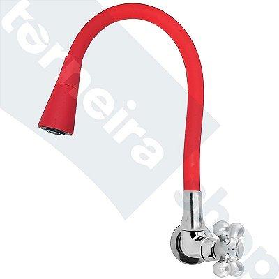 Torneira Parede Gourmet Design Vermelho Jato Duplo Bica Flexível C52