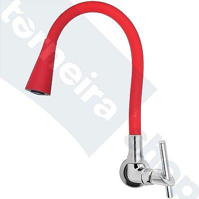 Torneira Parede Gourmet Design Vermelho Jato Duplo Bica Flexível C67