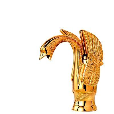 Torneira Exclusiva Misturador Monocomando Banheiro Dourado Desenho Cisne