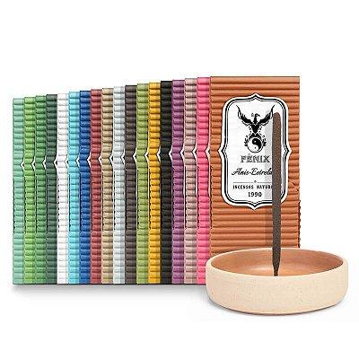 Kit Todos os Aromas c/ 18 caixas + Incensário de Cerâmica