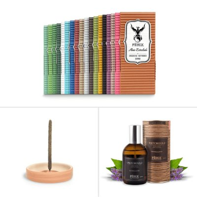 Kit Todos os Aromas c/ 18 caixas + Incensário Sabiá + Home Spray de Patchouli