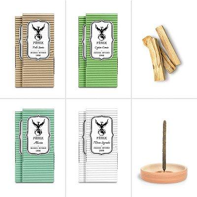 Kit Limpeza - Incensos + Palo Santo In Natura + Incensário de Cerâmica