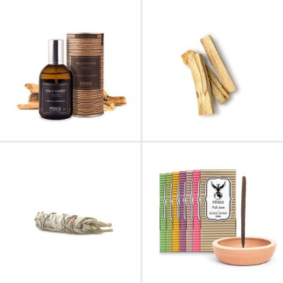 Kit Home Spray de Palo Santo + Palo Santo In Natura +  Sálvia Branca Bastão P + 7 Incensos mais vendidos + Incensário Carcará