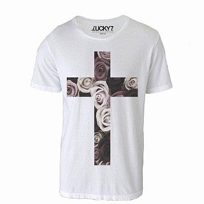 Camiseta Lucky Seven - Cross in flower