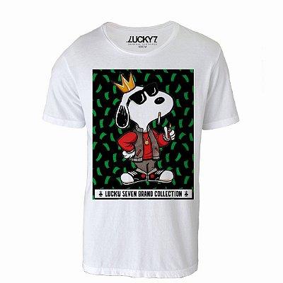 Camiseta Gola Básica - Snoopy Rapper