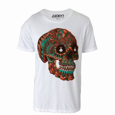 Camiseta Lucky Seven - Caveira Colorida