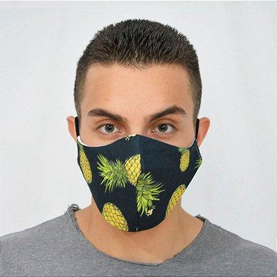 Máscara e Proteção Algodão - Estampa Abacaxi