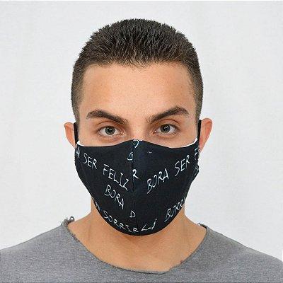 Máscara de Proteção Algodão - Estampa Bora Ser