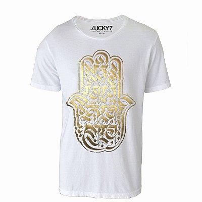Camiseta Gola Básica: Mão de fátima