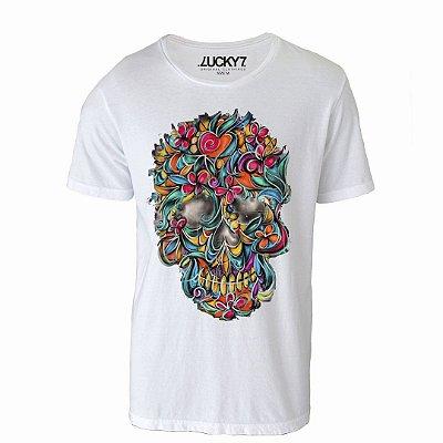 Camiseta Lucky Seven - Caveira Floral